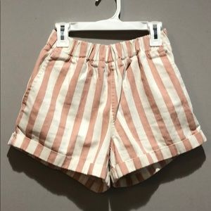 Pink And White Striped Jean Shorts
